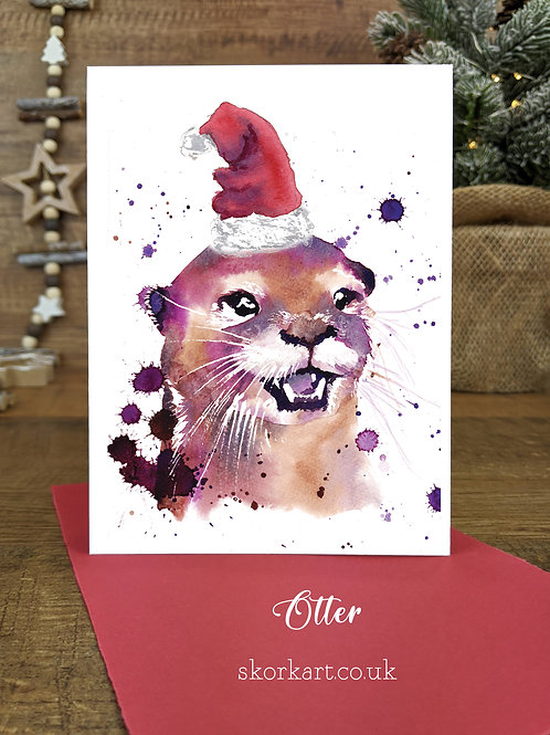 Christmas Card Otter Watercolour, A6