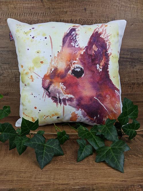 Luxury Art Print Cushion, Red Squirrel, 35 x35 cm