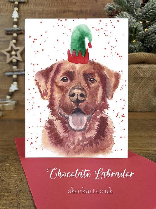 Christmas Card Labrador Chocolate Watercolour, A6