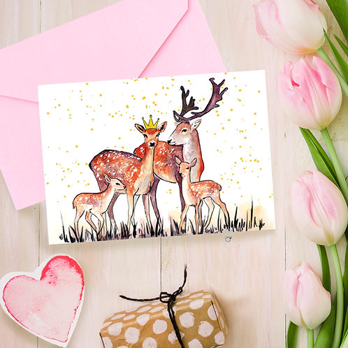 Deer Family, Mothers day, for Mum greetings card