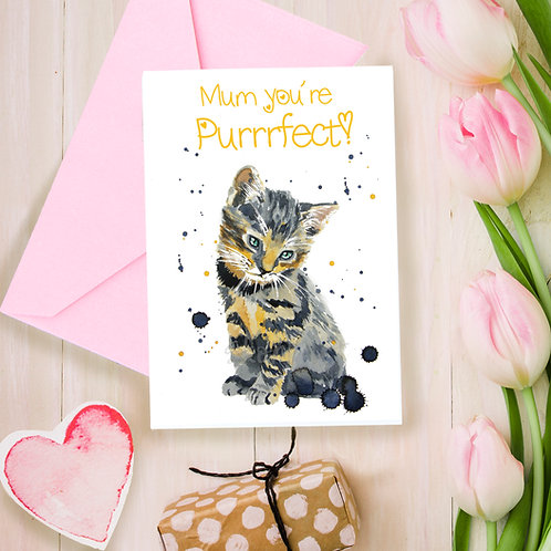 Mum your Purrrfect, Mothers day, for Mum, greetings card
