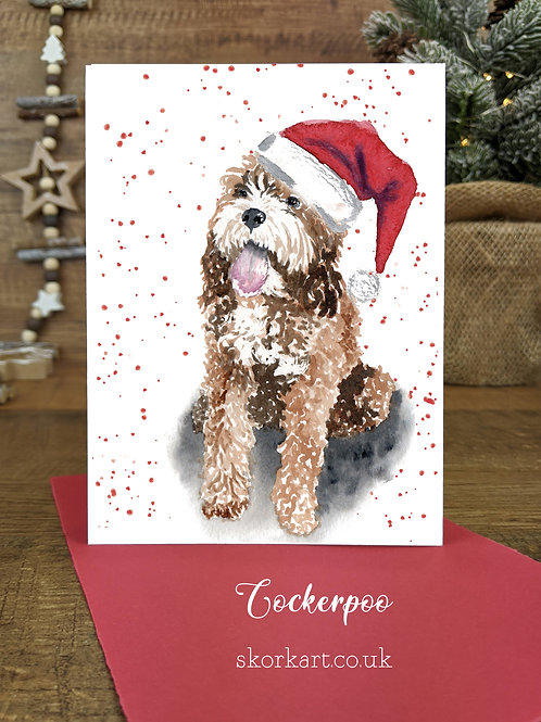 Christmas Card Cockerpoo Brown Watercolour, A6