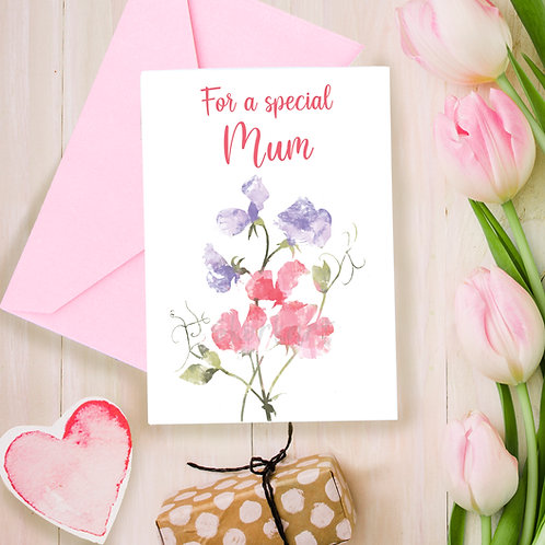 Special Mum sweet peas, Mothers day, for Mum, greetings card