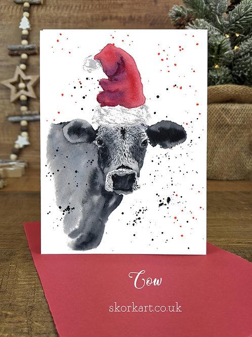 Christmas Card Cow Grey Watercolour, A6