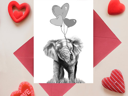 Baby Elephant with Balloons Valentines, Anniversary Greetings Card