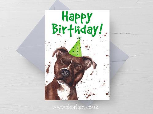 Happy Birthday Staffy card #202033