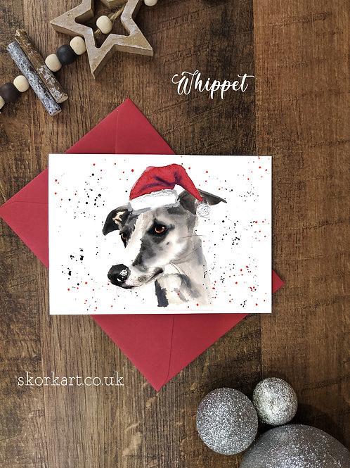 Christmas Card Whippet Watercolour, A6