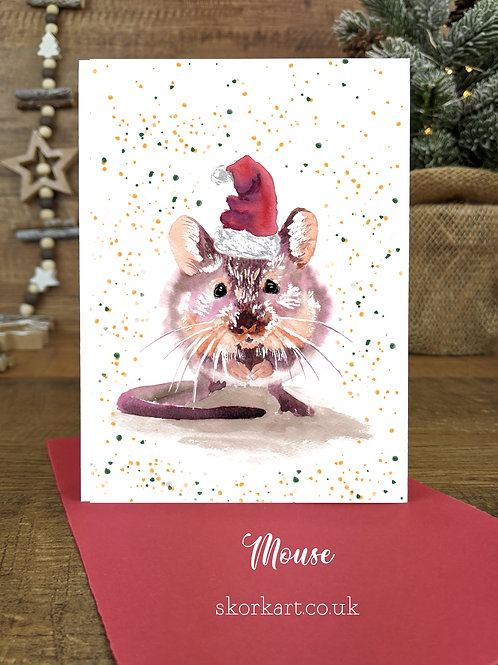 Christmas Card Mouse Watercolour, A6
