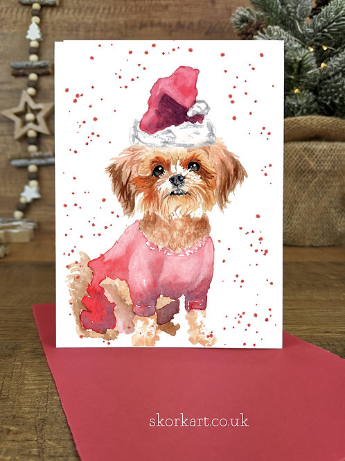 Christmas Card Small dog Watercolour, A6