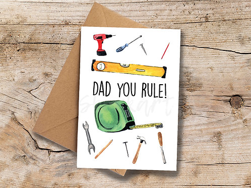 Dad you Rule A6 greetings Card
