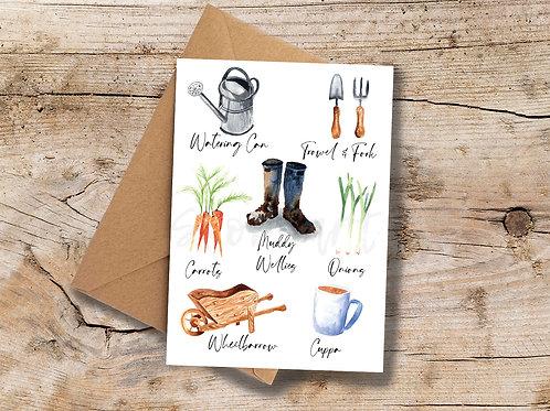 Muddy Wellies A6 greetings Card