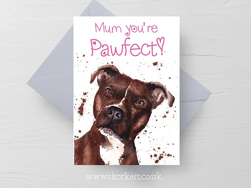 Mum you're Pawfect! Brindle Staffy Mothers Day Card #202041