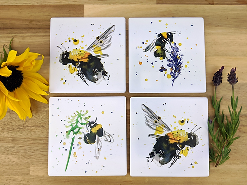 Ceramic Coaster set of 4 Bumblebee Collection #202052