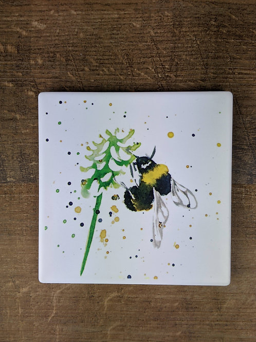 Ceramic Coaster (single) Bee Green flower