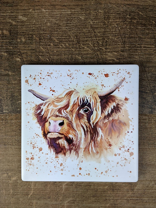 Ceramic Coaster (single) Highland Cow