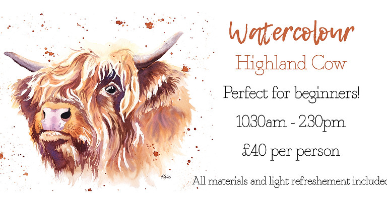 Learn to paint a Highland cow in watercolour