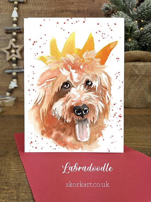 Christmas Card Labradoodle Watercolour, A6