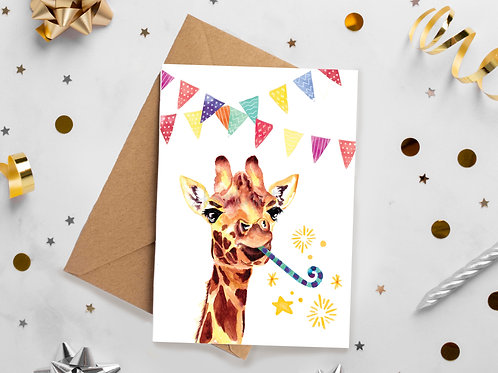 Giraffe Party, Birthday, Celebration, Congratulations, greetings card