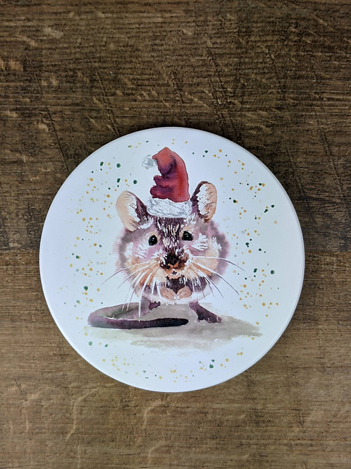 Ceramic Coaster (single) Christmas Mouse