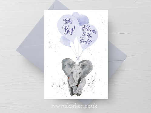 Welcome to the World Baby Boy Card, Elephant and balloons #202023
