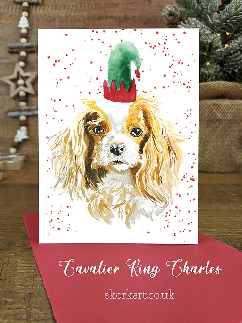 Christmas Card Cavalier King Charles Watercolour, A6