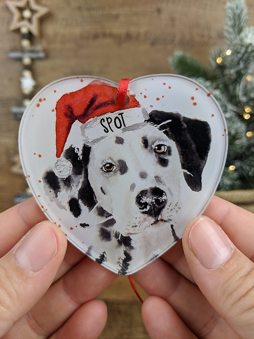 Personalised Pet Christmas Tree Decoration - Watercolour Dogs  A - J