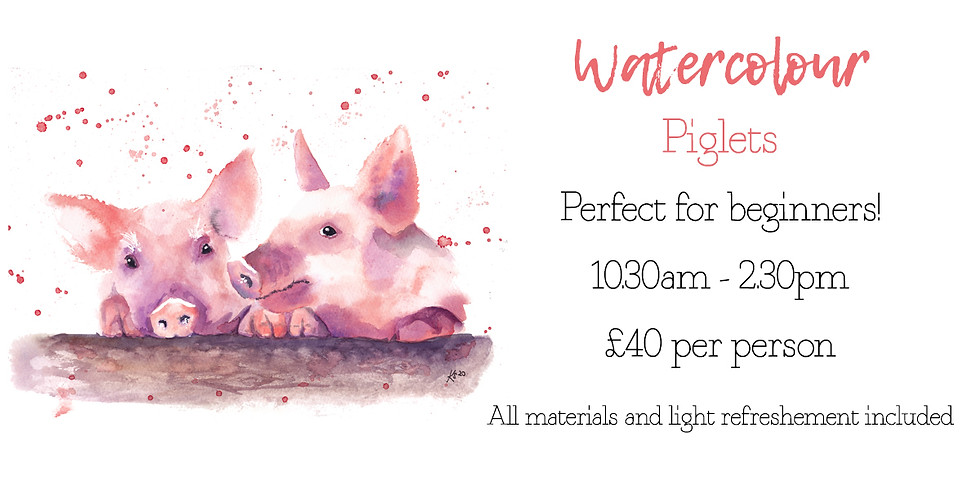 Learn to paint two cheeky piglets in watercolour