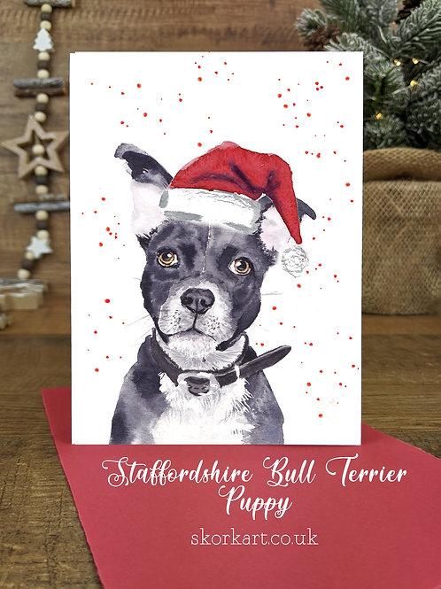 Christmas Card Staffy Blue puppy Watercolour, A6