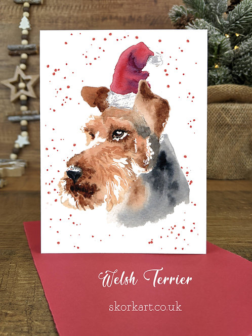 Christmas Card Welsh Terrier Watercolour, A6