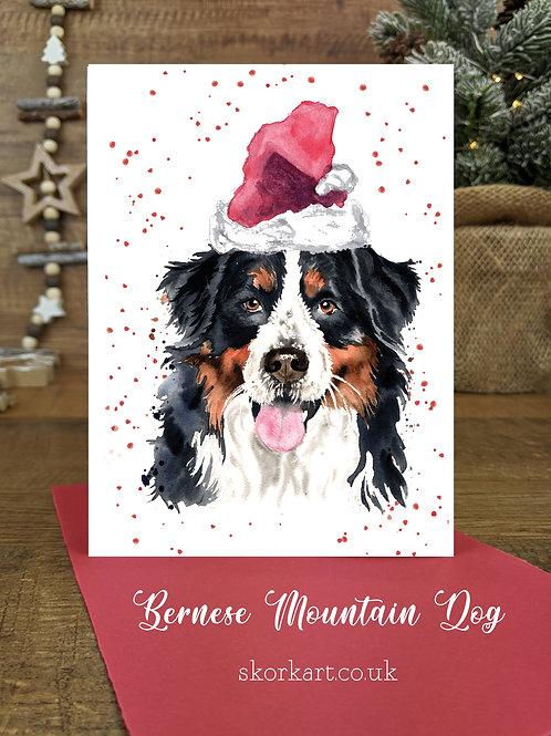 Christmas Card Bernese Mountain Dog Watercolour, A6