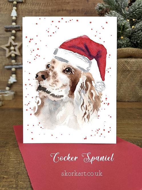 Christmas Card Cocker Spaniel Tan and White Watercolour, A6