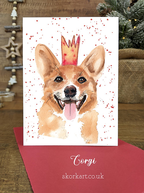 Christmas Card Corgi Watercolour, A6