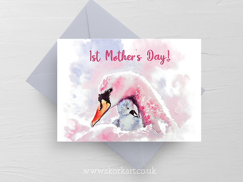 1st Mothers Day Card Swan and Cygnet #202043