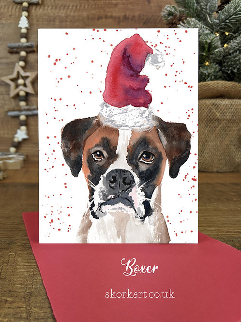 Christmas Card Boxer Watercolour, A6