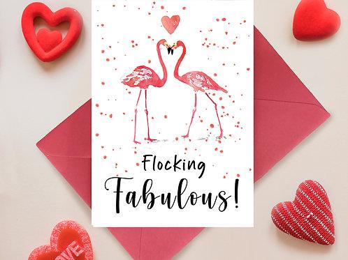 Flocking Fabulous Flamingo Valentines, Anniversary Greetings Card