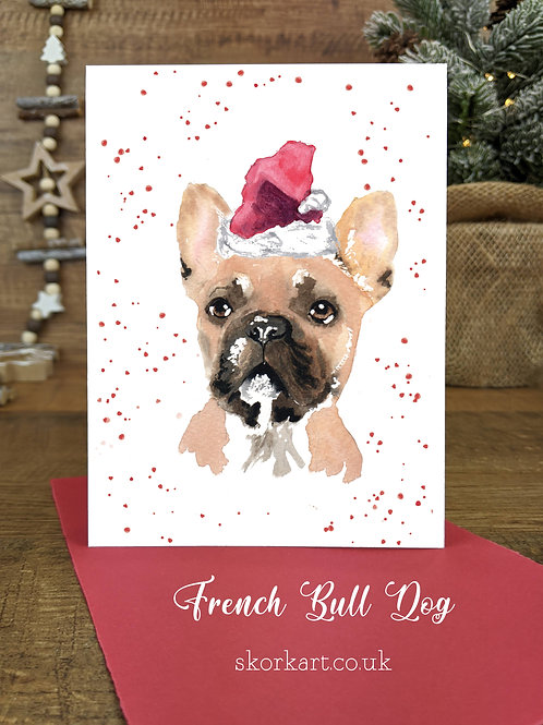 Christmas Card French Bull Dog Watercolour, A6