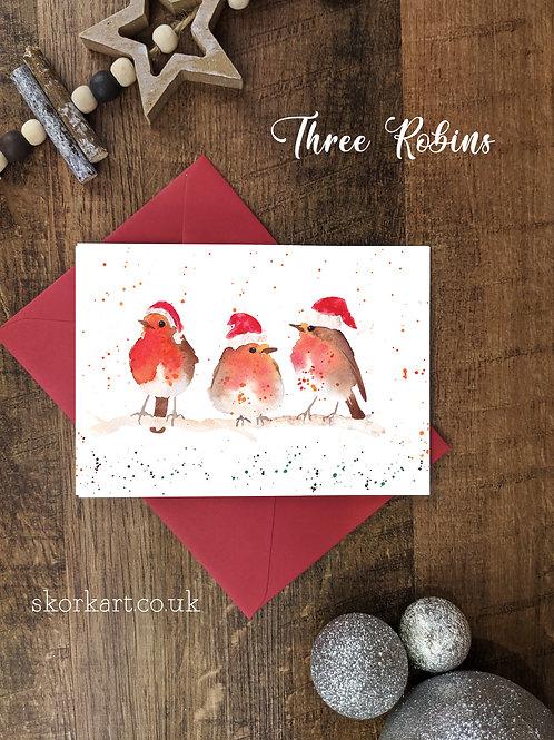 Christmas Card Tree Robins Watercolour, A6