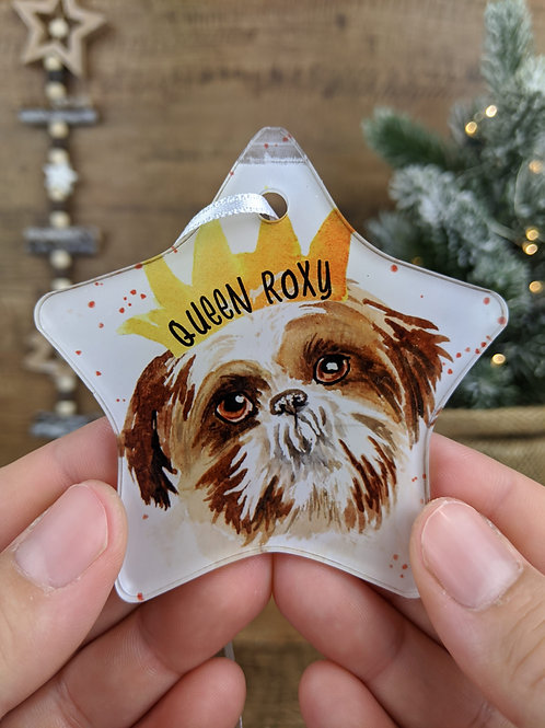 Personalised Pet Christmas Tree Decoration - Watercolour Dogs L - Y