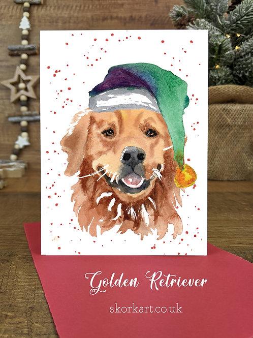 Christmas Card Golden Retriever Watercolour, A6