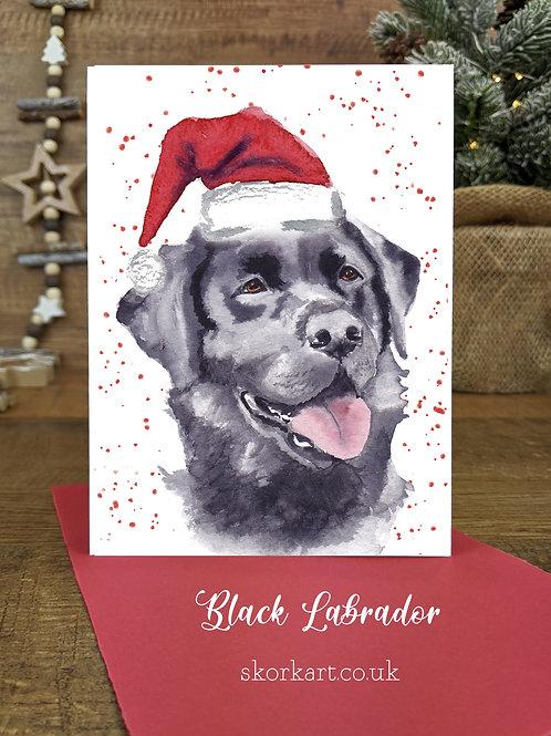 Christmas Card Labrador Black Watercolour, A6