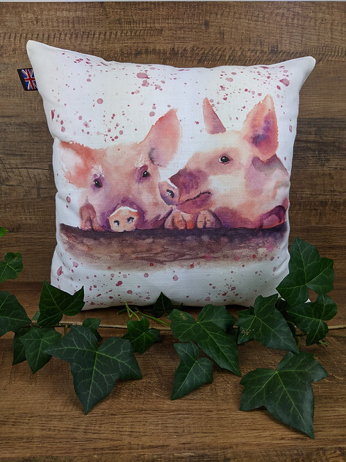 Luxury Art Print Cushion, Piggies, 35 x35 cm