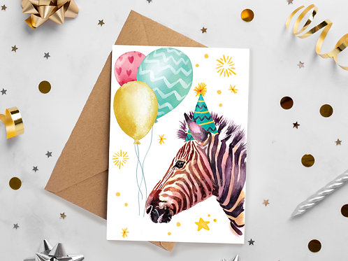 Zebra, Party, Birthday, Celebration, Congratulations, greetings card