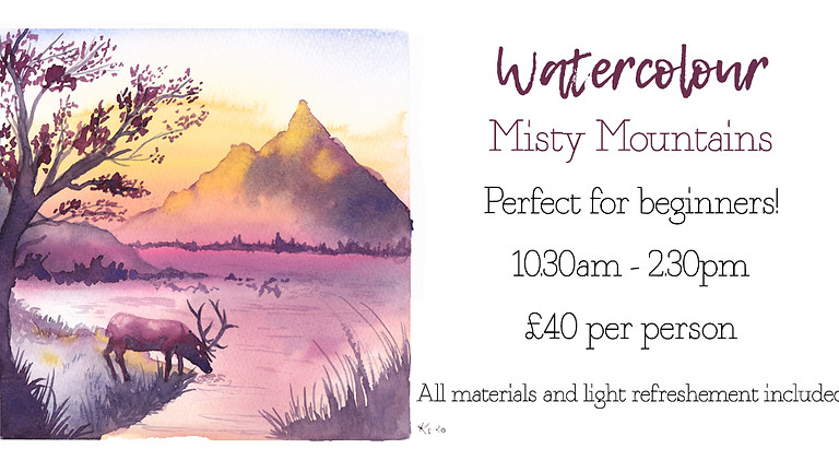 Learn to paint misty mountain landscape in watercolour