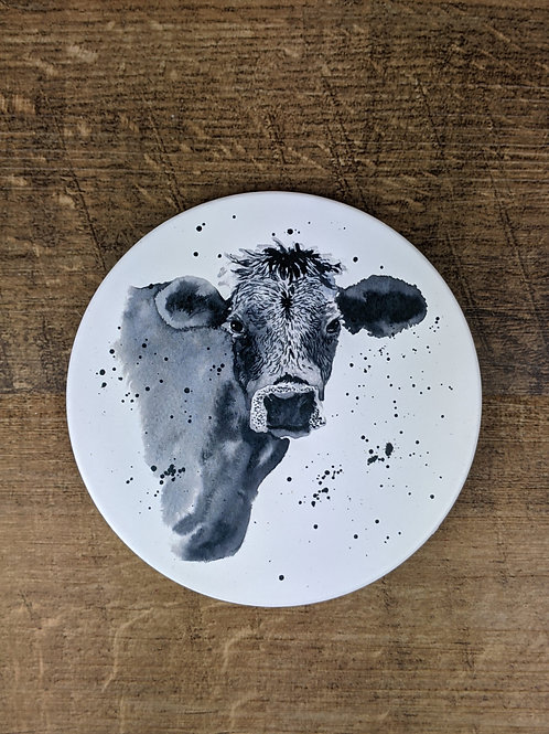 Ceramic Coaster (single) Grey Cow