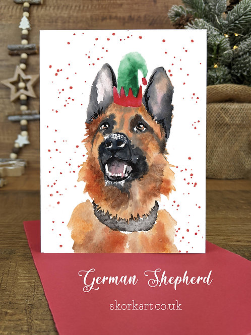 Christmas Card German Shepherd Watercolour, A6