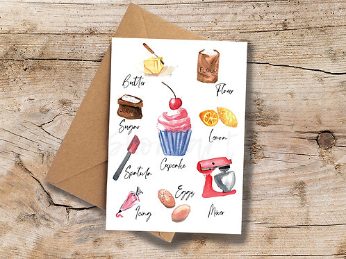 All things Baking A6 greetings Card