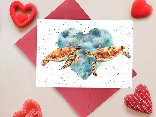 Turtely in Love Valentines, Anniversary Greetings Card