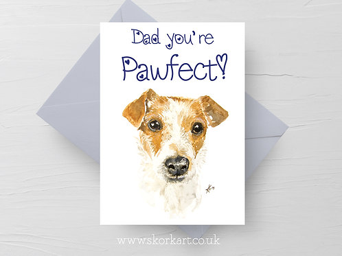 Dad you're Pawfect! Jack Russell Fathers Day Card #202009