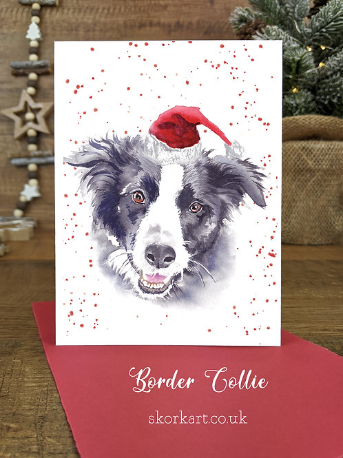 Christmas Card Border Collie Watercolour, A6