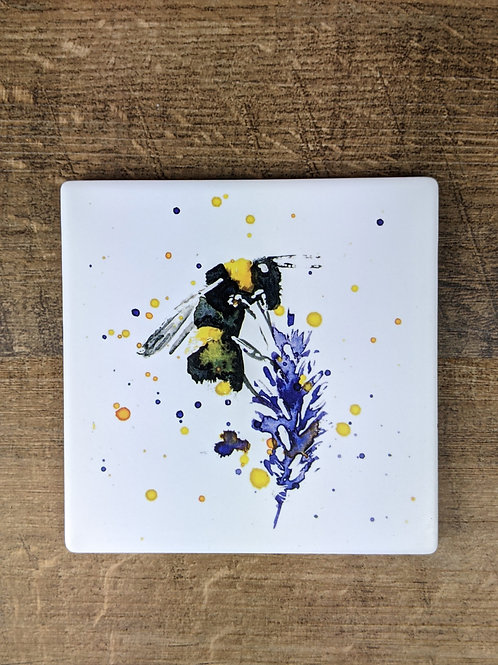 Ceramic Coaster (single) Bee Lavender